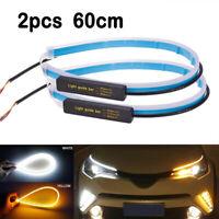 2x 60cm Slim Amber Sequential Flexible LED DRL Turn Signal Strip Light Headlight