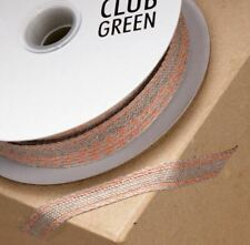 HESSIAN RIBBON WITH ORANGE STITCHED EDGE 10mm x 25 METERS FULL REEL CRAFT
