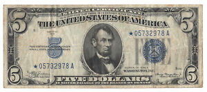 $5 1934A Silver Certificate Fr#1651* Blue Seal Star Note