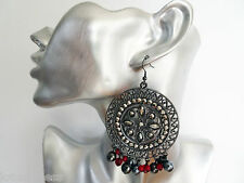 Sexy Hematite Colour Round Dangle Drop Earrings with Bead Tassels 8.5 cms Drop