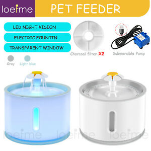 Automatic Electric Pet Water Bowl Fountain Dog Cat Drinking Dispenser W/Filter
