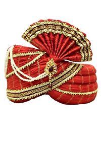 MPG7009 Red and Gold Indian Turban, Wedding Pagri, Safa, Bollywood Hat, Pagdhi