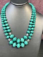 """Vintage 1950's Mint Green Marbled Beaded 2 Strand Ab Necklace  Japan 19- 21"""""""