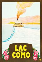 Italy Lake Como Travel Poster 1930s Vintage A1 Art Paper Print