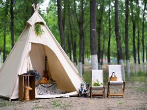 2M Outdoor Canvas Camping Pyramid Tipi Tent Adult Indian Teepee Tent Of 2 Person