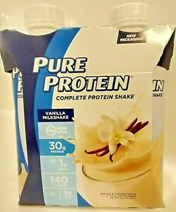 Pure Protein Complete Protein Shakes 4 Pk Ready to Drink Vanilla Milkshake  *New