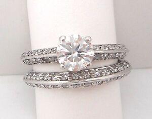 14K WHITE GOLD ROUND DIAMOND BRIDAL SET RETAIL $5999 JG1