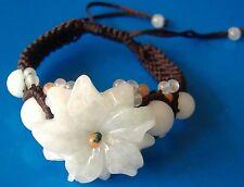 Beautiful Handicrafts jewelry,jade flowers Weave bracelet,adjustable 16-19cm