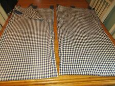 "TAB Top  BLUE Checked  Curtain Pair, 41 W x 84"" L COUNTRY / FARM HOUSE 2 panels"