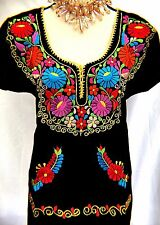 Mexican Blouse BLACK FLORAL Embroidery Traditional  Sz S/M Cotton Peasant Boho