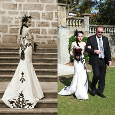 Black&White Gothic Wedding Dresses Strapless Mermaid Embroidery Bridal Gowns