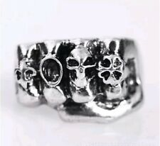 Heavy Metal Punk Rock Skull Fist Biker Ring Silver Stainless Steel Skull Size 8
