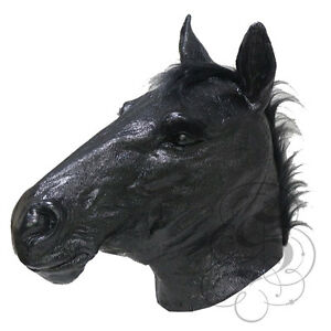 NEW ! Latex Animal Realistic BLACK HORSE Cosplay Fancy Dress Up Carnival Mask