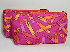 2pc Clinique Makeup Bags Chubby Stick Pattern (lightly padded)