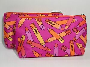 Lot of 2 Clinique Makeup Bags Chubby Stick Pattern (lightly padded)