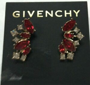 """Givenchy Red White Marquise Stud Crystal Gold Plated Earrings 1"""" Macys New GC121"""