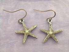 Detailed Silver Tibetan Nature Star Fish Starfish Drop Earrings Free Shipping