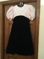 Stunning GIRL'S PARTY DRESS sz 14 Blk Velvet Skirt Pink Top by La Petite Affair