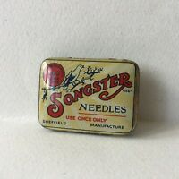 Vintage Songster Gramophone Needles Tin Box Sheffield England 22 pieces