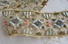 Antique Beaded Silk & Metallic Embroidered Tulle Net Lace Trim