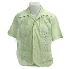Vintage Merida Mens Button Down Leisure Shirt Polyester Blend Green 15-15-1/2