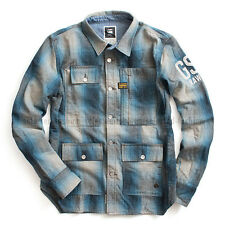 G-STAR RAW LIGHTWEIGHT OVERSHIRT JACKET WOOL CHECK FISHER BLUE  SIZE L /Large