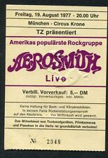1977 Aerosmith concert ticket stub Circus Krone Munich Draw The Line Tour