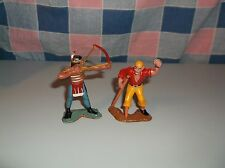 """Two Vintage Cake Cupcake Decorations Indian w/ Bow Peg Leg Pirate is 2 3/8"""" Hi"""
