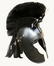TROJAN WAR HELMET - Black with Plume - SPARTAN COSTUME
