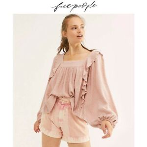 Free People New Pink Knitted Ruffled Heavy Top