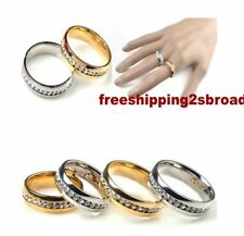 10X Silver Gold CZ Men Women Wedding  band stainless steel rings wholesale