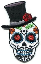 TOP HAT SUGAR SKULL El Catrin day of the dead IRON-ON PATCH - dia de los muertos