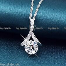 925 Sterling Silver Crystal Diamond Pendant Necklace Chain Gift for girlfriend