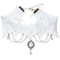 Gothic Wedding Jewelry White Lace Short Choker Collar Statement Necklace Gifts