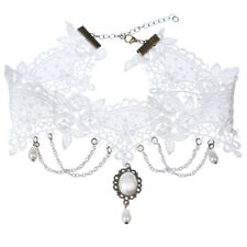 Gothic Wedding Jewelry White Lace Short Choker Collar Statement Necklace CA Z
