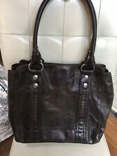 Frye Slate Brown Leather Melissa Tote APU Shoulder Bag Purse DB138 $398