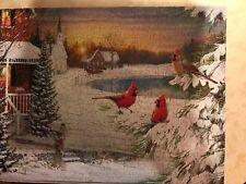 Springbok Puzzle 500 Piece Twilight Trio Winter Scene Cardinals