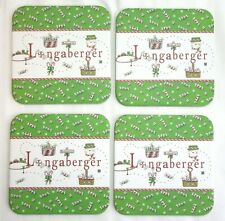 4 Longaberger Basket Coasters Peppermint Candy Cane Holiday Cork Backed New