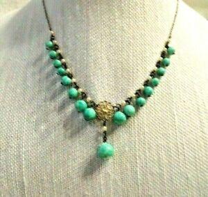Delicate CZECH Art Deco Green Glass Pendant Necklace  ~LOVELY~
