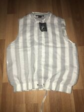 Bnwt New Grey White Stripped Sleeveless Cropped Shirt Blouse Top Size 8