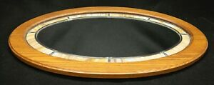 Oval Framed Wall Mirror Oak Frame w/Leaded Yellow/Brown Slag Glass