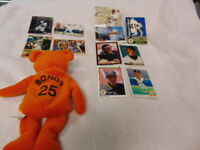 Barry Bonds Card Lot 1988-2003 with Salvino's Bamm Beano's Bonds Beanie 11 count