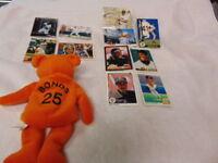 Barry Bonds Card Lot 1988-2003 with Salvino's Bamm Beano's Bonds Beanie 11 count