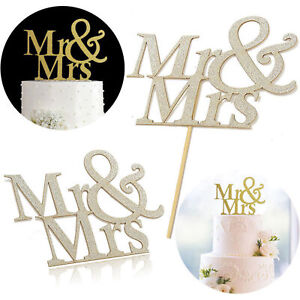 MR and MRS Gold Glitter Cake Topper Bride and Groom Wedding Cake