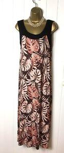 WALLIS Black Pink Leaf Maxi Long Dress Stretch A line Summer Holidays Size 16 P