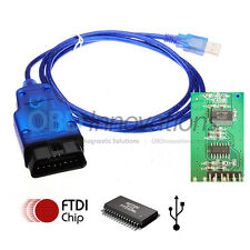 KKL OBD2 USB VAG Interface Cable FTDI FT232RL Chip for 3rd Party Software & Apps