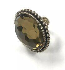 Stephen Dweck Smokey Quartz Oval Faceted Bronze Braid Large Stone Ring | Size 6