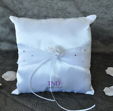 WHITE SATIN WEDDING RING BEARER PILLOW ACCENTED WITH RHINESTONES & ORGANZA