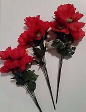 Burnt Red Azalea Bushes Artificial Flowers for Flower Arranging Set of 3