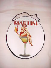 Bar Sign~~Metal Framed Glass Bar Martini Sign, Red Hot Martini